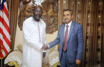 Ambassador R. Ravindra and Honorary Consul Upajit Singh calling on H.E. Mr. George Weah, President of Liberia