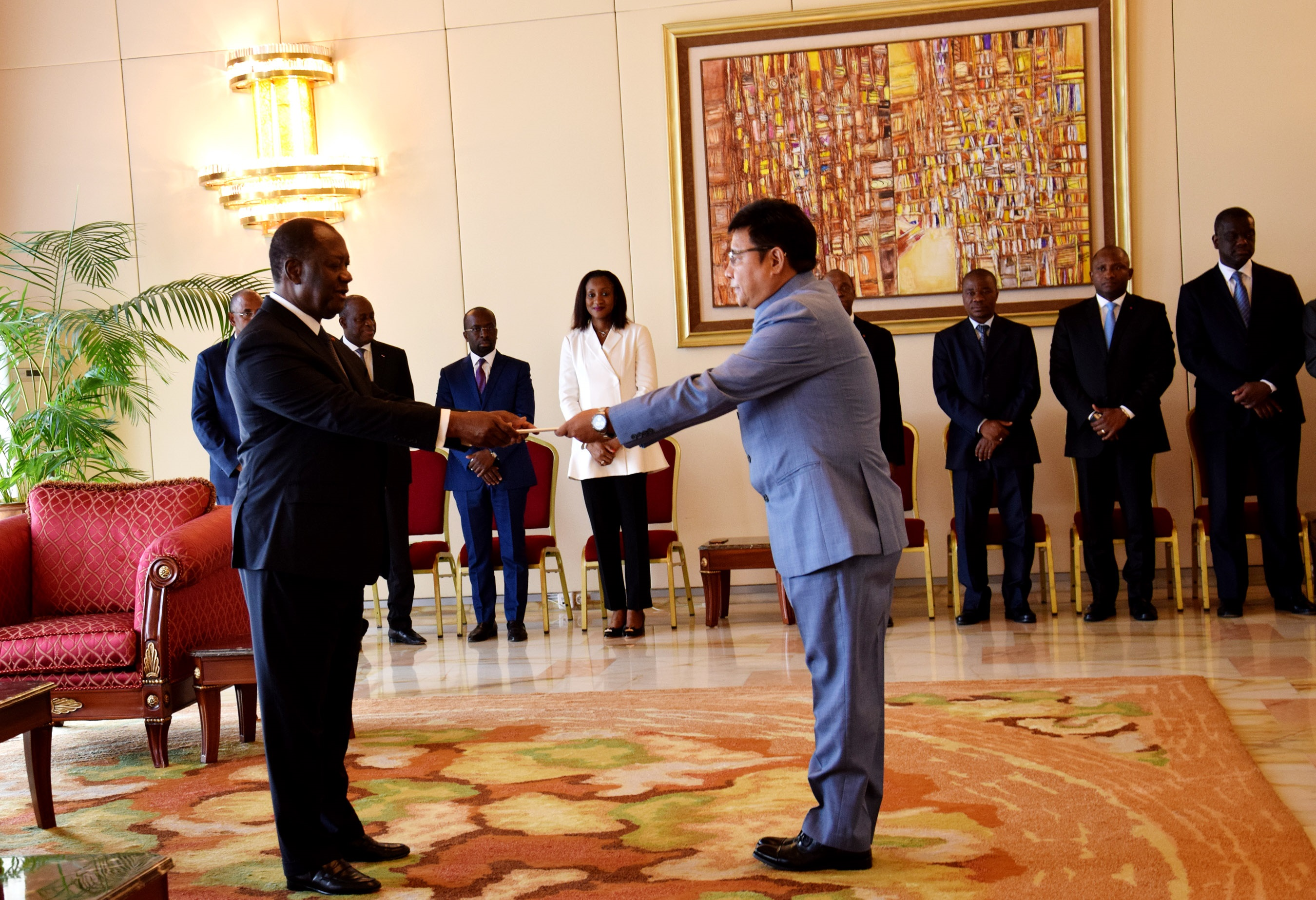 H. E. Mr. Sailas Thangal presenting his credential letter to the President Alassane Ouattara