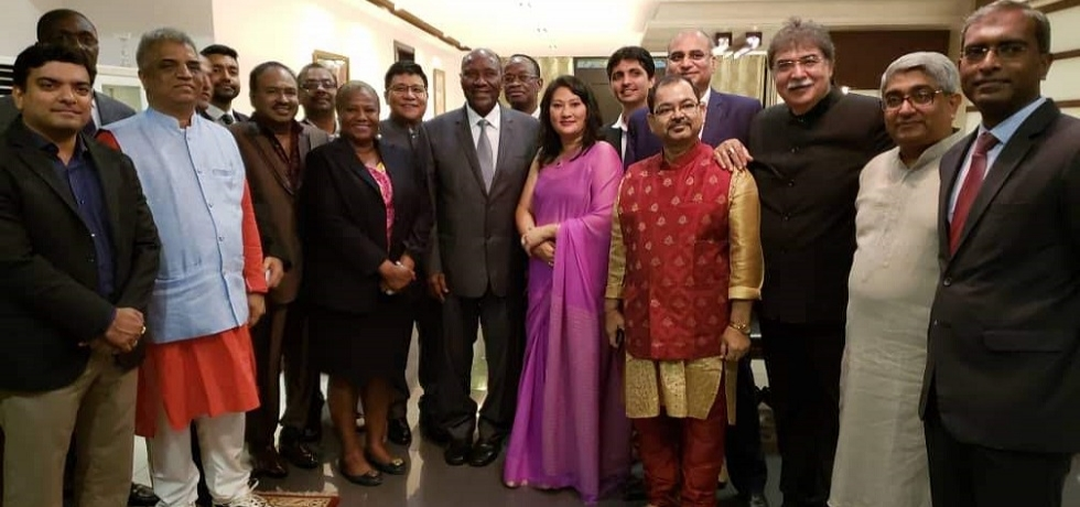 Ambassador and Indian community leaders with Vice President H.E.Mr. Daniel Kablan Duncan in India House