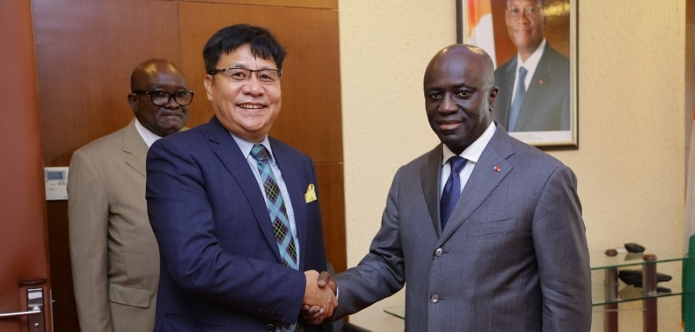Ambassador with Minister of External Affairs Mr. Marcel Amon-Tanoh