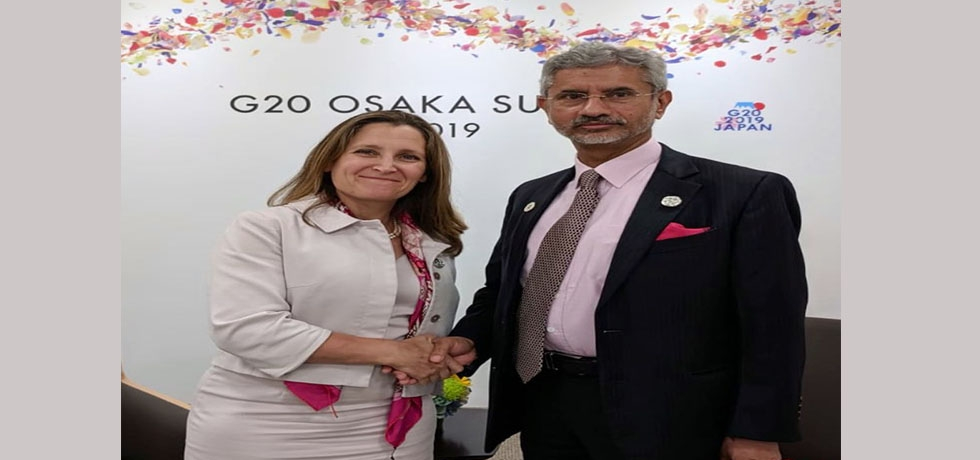 External Affairs Minister meets Chrystia Freeland, Minister of Foreign Affairs of Canada on the sidelines of G20 Summit 2019 in Osaka, Japan