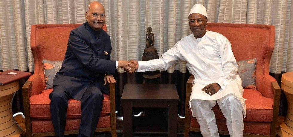 President meets Alpha Condé, President of Guinea in Conakry during his State Visit to Guinea.