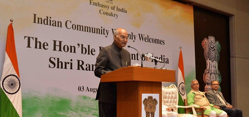 President addresses Indian Community at Conakry during his State Visit to Guinea