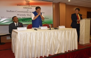Reception of Hon'ble V. Muraleedharan, Minister of State for External Affairs by Indian Community at Latrille Events during his visit in Cote d'Ivoire on September 06, 2019