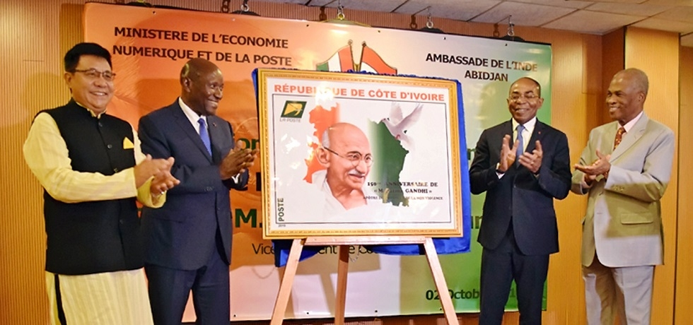 Vice President and Minister of Cote d'Ivoire releasing Gandhi@150 Commemorative postage stamp.