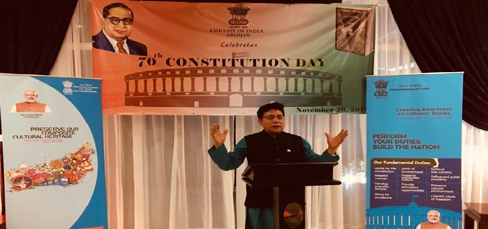 Ambassador H. E. Mr. Sailas Thangal addressing @ the 70th Constitution Day of India.