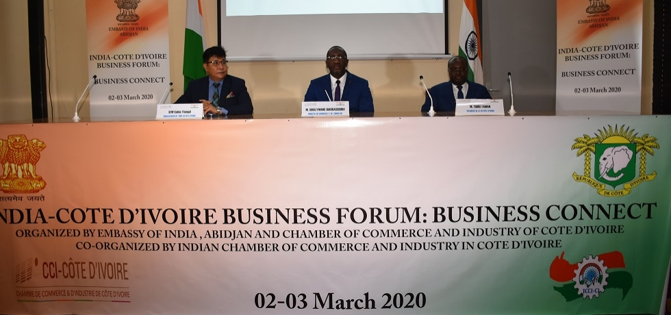 Ambassador and H.E.Mr. Souleymane DIARRASSOUBA (Minister of Commerce and Industry) addressing @ India-Cote d'Ivoire 3rd Business Forum.