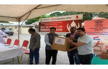 Embassy in cooperation with Maruthi Foundation organised a blood donation camp and gifting of Life saving drugs courtesy Sun Pharma to Ivorian National Blood Bank