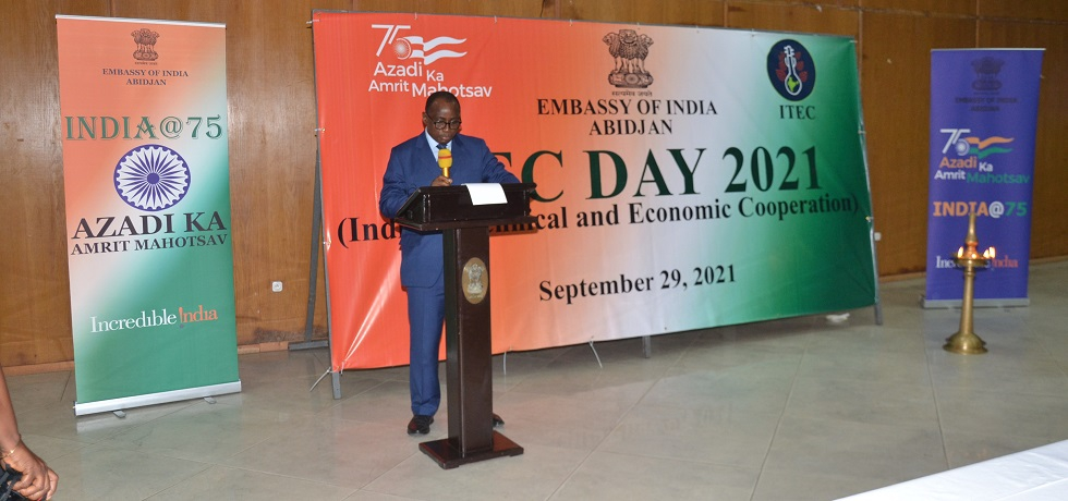 The Minister of Technical Education, Vocational Training and Apprenticeship, H.E.Mr. KOFFI N'Guessan addressing at ITEC DAY 2021 ceremony